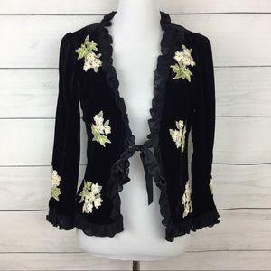 Nanette Lepore Velvet & Embroidered Blazer Jacket